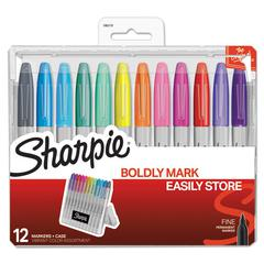 Permanent Markers with Storage Case, Fine, Assorted, Vibrant, 12/Pack