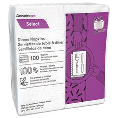 Select Dinner Napkins, 2-Ply, 3 3/4 x 8 1/2, White, 100/Pack, 3000/Carton