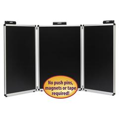 "Justick Three-Panel Electro-Surface Table-Top Expo Display, 72"" x 36"", Black"