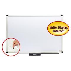 "Justick Premium Aluminum-Frame Electro-Surface Bulletin Board, 36"" x 24"", White"