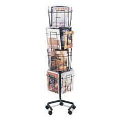 Wire Rotary Display Racks, 16 Compartments, 15w x 15d x 60h, Charcoal