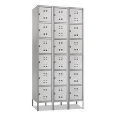 Three-Column Box Locker, 36w x 18d x 78h, Two-Tone Gray