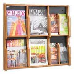 Expose Adj Magazine/Pamphlet Six Pocket Display, 29-3/4w x 26-1/4h, Medium Oak