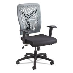Voice Series Task Chair, Plastic Back, Upholstered Seat, Black/Charcoal