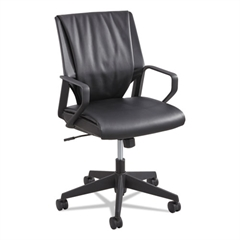 Priya Series Leather Executive Mid-Back Chair, Loop Arms, Black Back/Black Seat