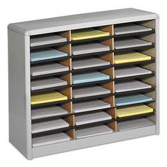 Steel/Fiberboard Literature Sorter, 24 Sections, 32 1/4 x 13 1/2 x 25 3/4, Gray