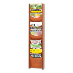 Solid Wood Wall-Mount Literature Display Rack, 11-1/4 x 3-3/4 x 48-3/4, Cherry