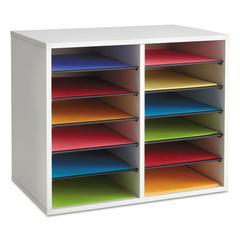 Fiberboard Literature Sorter, 12 Sections, 19 5/8 x 11 7/8 x 16 1/8, Gray