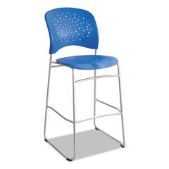 Rêve Series Bistro Chair, Molded Plastic Back/Seat, Steel Frame, Lapis