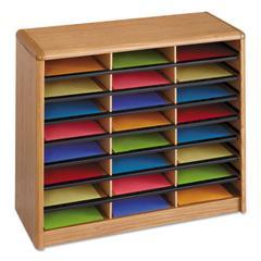 Steel/Fiberboard Literature Sorter, 24 Sections, 32 1/4 x 13 1/2 x 25 3/4, Oak