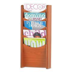 Solid Wood Wall-Mount Literature Display Rack, 11-1/4 x 3-3/4 x 23-3/4, Cherry