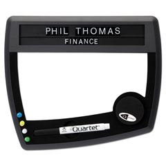 Tack & Write Nameplate, 10 1/2 x 9, Black/White Surface, Black Frame
