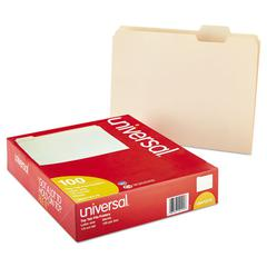 File Folders, 1/5 Cut Assorted, One-Ply Top Tab, Letter, Manila, 100/Box
