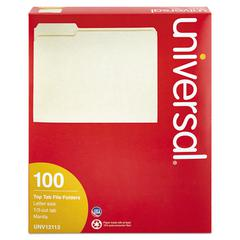 File Folders, 1/3 Cut Assorted, One-Ply Top Tab, Letter, Manila, 100/Box