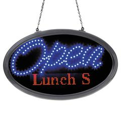 """LED Oval Open Sign with Programmable Message, 14"""" x 27"""", Red/Blue"""