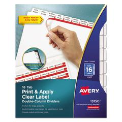 Index Maker Print & Apply Clear Label Double Column Dividers, 16-Tab, Letter