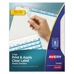 Index Maker Print & Apply Clear Label Plastic Dividers, 5-Tab, Letter