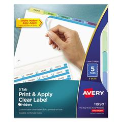 Print & Apply Clear Label Dividers w/Color Tabs, 5-Tab, Letter, 5 Sets