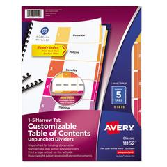 Ready Index Customizable Table of Contents, Unpunched, 5-Tab, Ltr, 5 Sets