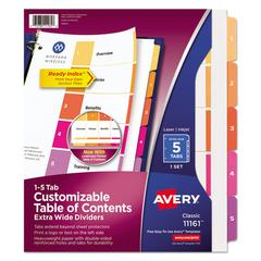 Ready Index Customizable Table of Contents, Asst Dividers, 5-Tab, 11 x 9 1/2