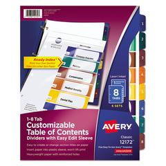 Ready Index Customizable Table of Contents, Asst Dividers, 8-Tab, Ltr, 6 Sets