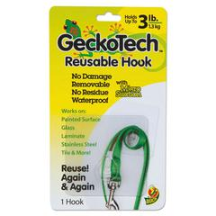 GeckoTech Reusable Hooks, Plastic, 3 lb Capacity, Clear, 1 Hook