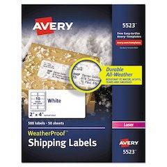 WeatherProof Shipping Labels w/TrueBlock, Laser, White, 2 x 4, 500/Pack