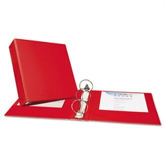 """Economy Non-View Binder with Round Rings, 11 x 8 1/2, 3"""" Capacity, Red"""