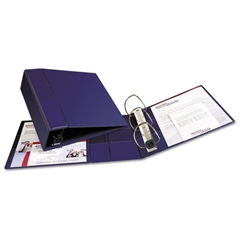 """Heavy-Duty Binder with One Touch EZD Rings, 11 x 8 1/2, 4"""" Capacity, Navy Blue"""