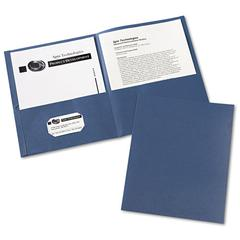 Two-Pocket Folder, 40-Sheet Capacity, Dark Blue, 25/Box