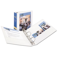 "Economy View Binder w/Round Rings, 11 x 8 1/2, 3"" Cap, White"