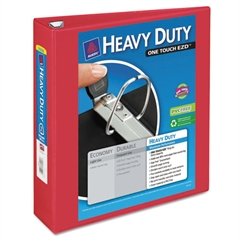 "Heavy-Duty View Binder w/Locking 1-Touch EZD Rings, 2"" Cap, Red"