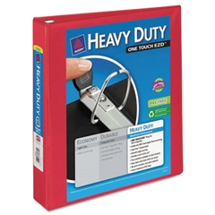 """Heavy-Duty View Binder w/Locking 1-Touch EZD Rings, 1 1/2"""" Cap, Red"""