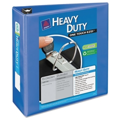 "Heavy-Duty View Binder w/Locking 1-Touch EZD Rings, 4"" Cap, Periwinkle"