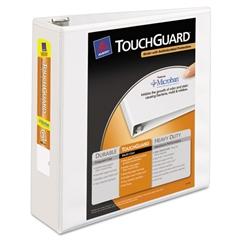 "Touchguard Antimicrobial View Binder w/Slant Rings, 3"" Cap, White"