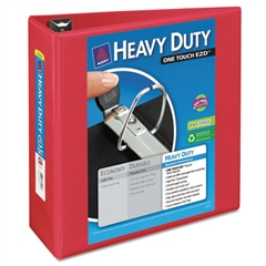 """Heavy-Duty View Binder w/Locking 1-Touch EZD Rings, 4"""" Cap, Red"""
