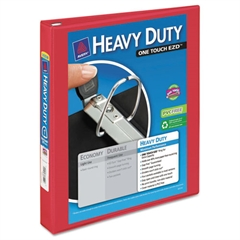 """Heavy-Duty View Binder w/Locking 1-Touch EZD Rings, 1"""" Cap, Red"""