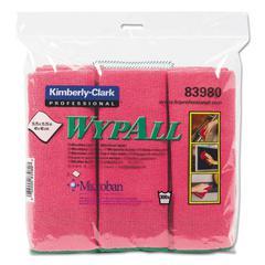 Microfiber Cloths, Reusable, 15 3/4 x 15 3/4, Red, 6/PK, 4 PK/CT