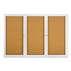 Enclosed Bulletin Board, Natural Cork/Fiberboard, 72 x 48, Silver Aluminum Frame