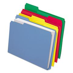 CutLess/WaterShed/Double Stuff File Folders, 1/3 Cut, Assorted, Letter, 50/BX