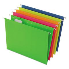 Glow Hanging File Folders, 1/5 Tab, Letter, Glow Assorted, 25/Box