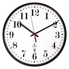 "Atomic Slimline Contemporary Clock, 12-3/4"", Black"