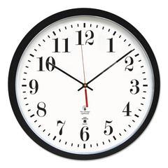 "Atomic Slimline Contemporary Clock, 16-1/2"", Black"