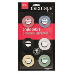 """Deco Bright Decorative Tape, 1/8"""" x 324"""", Red/Black/Blue/Green/Yellow, 6/Pack"""