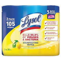 Disinfecting Wipes, 7 x 8, Lemon and Lime Blossom, 35/Canister, 3/Pack