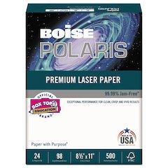POLARIS Premium Laser Paper, 98 Bright, 24lb, 8 1/2 x 11, White. 500 Sheets