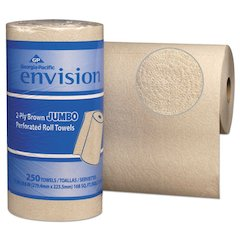 Perforated Paper Towel, 11 x 8 4/5, Brown, 250/Roll, 12/Packs/Carton