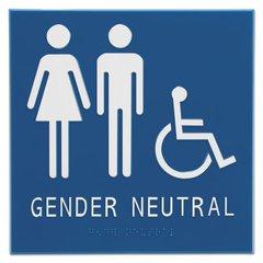 """Gender Neutral ADA Signs, 8"""" x 8"""", Man, Woman & Wheelchair"""