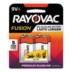 Fusion Advanced Alkaline Batteries, 9V, 4/Pack