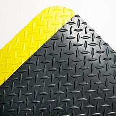 Industrial Deck Plate Anti-Fatigue Mat, Vinyl, 24 x 36, Black/Yellow Border